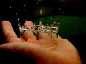 water on the hand